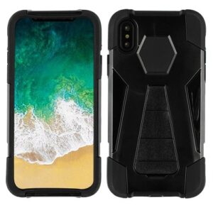Asmyna Advanced Armor Stand Protector Cover for APPLE iPhone XS-X - Black Inverse