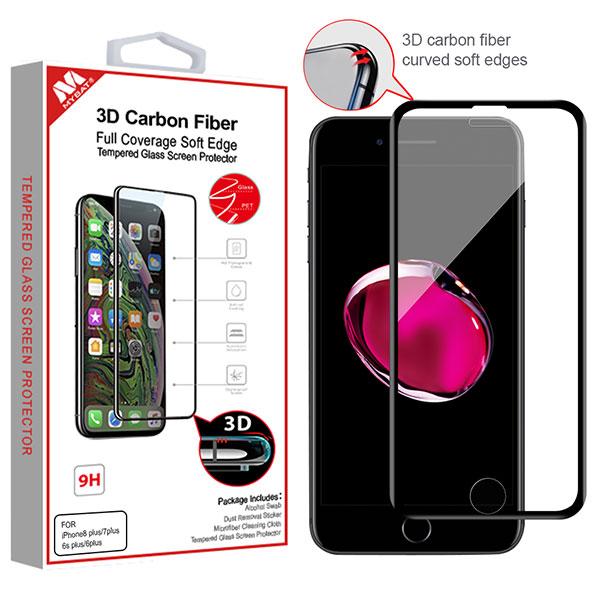 MyBat 3D Carbon Fiber Full Coverage Soft Edge Tempered Glass Screen Protector for APPLE iPhone 8 Plus-7 Plus - Black