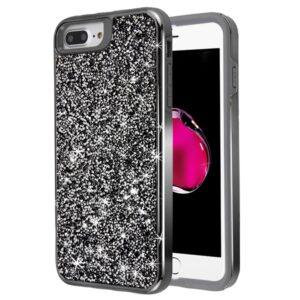 MyBat Encrusted Rhinestones Hybrid Case for APPLE iPhone 8 Plus-7 Plus - Electroplated Gun Metal - Iron Gray