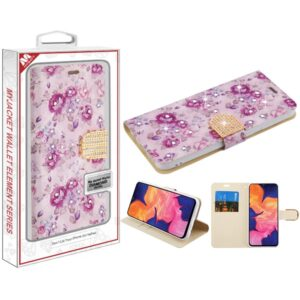 MyBat MyJacket Wallet Diamond Series for SAMSUNG Galaxy A10E - Fresh Purple Flowers