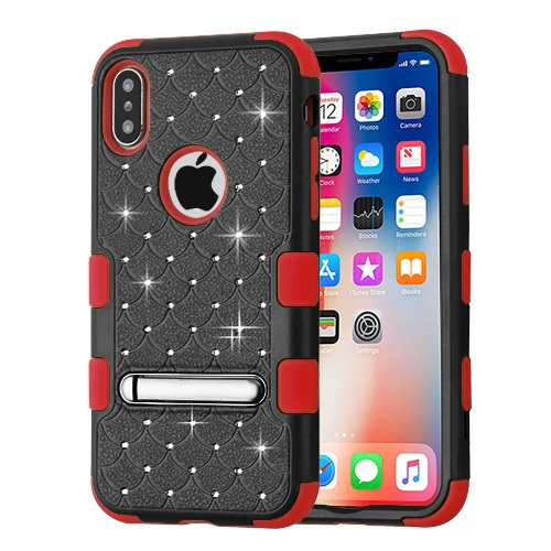 MyBat TUFF Hybrid Protector Cover (with Magnetic Metal Stand)[Military-Grade Certified] for APPLE iPhone XS-X - Natural Black - Red FullStar
